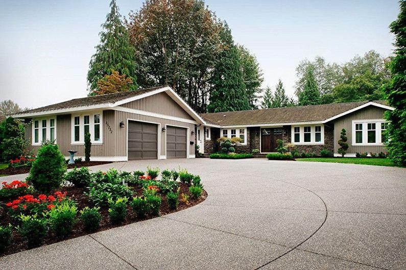 Современные проекты одноэтажных домов с гаражом - Одноэтажный дом с гаражной пристройкой