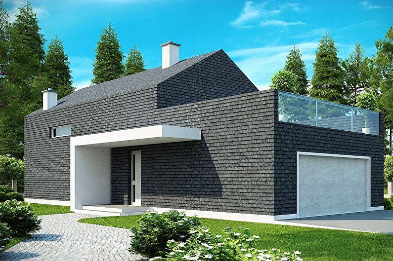 Современные проекты одноэтажных домов с гаражом - Мансардный дом с гаражом и подвалом