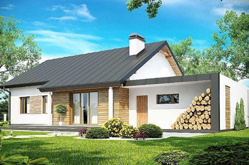Современные проекты одноэтажных домов с гаражом - Одноэтажный дом с гаражом и сауной