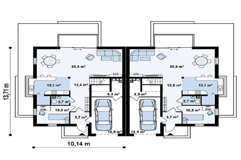 Современные проекты одноэтажных домов с гаражом - Дуплекс с гаражом