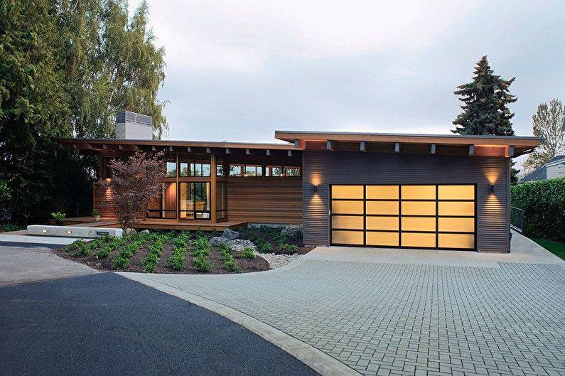 Одноэтажные дома с гаражом - фото и проекты