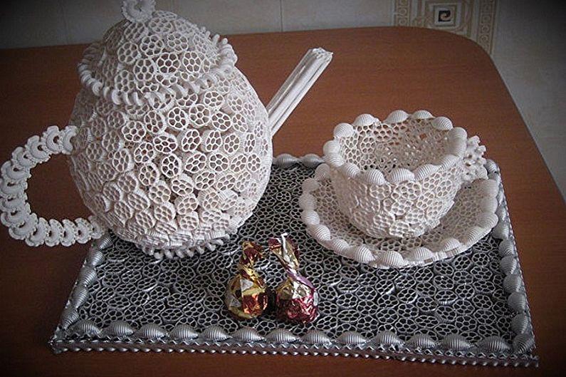 Поделки из макарон своими руками - Чайный сервиз