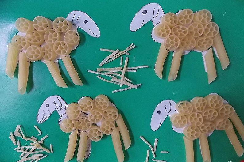 Детские поделки из макарон своими руками - Аппликации