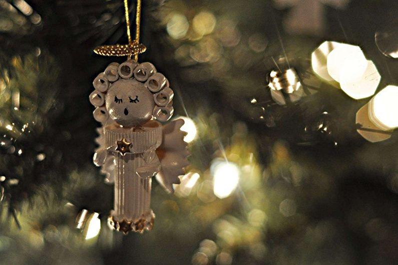 Новогодние поделки из макарон своими руками - Рождественские ангелочки