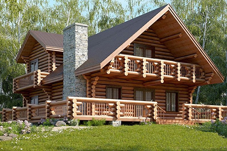 Современные проекты домов из сруба - Дом из оцилиндрованного бревна в стиле шале