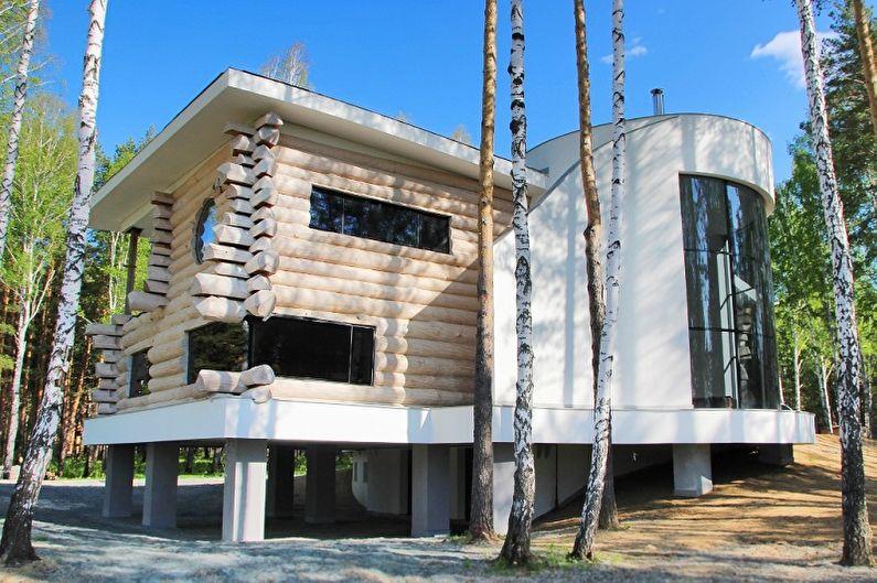 Современные проекты домов из сруба - Дом из оцилиндрованного бревна в современном стиле