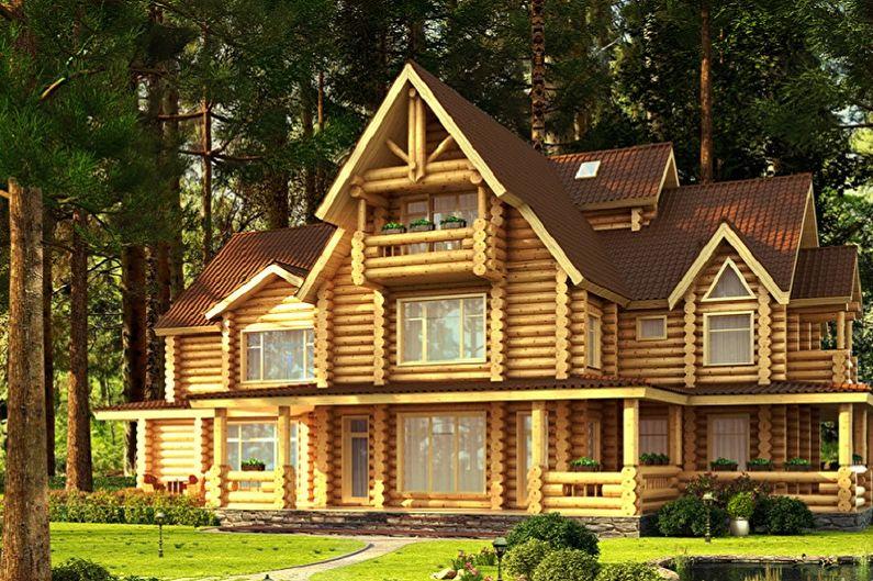 Современные проекты домов из сруба - Дом из оцилиндрованного бревна с мансардой