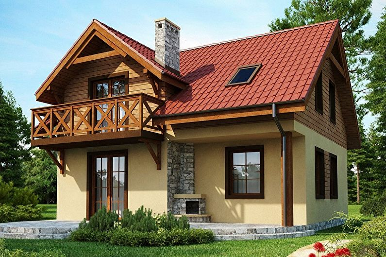 Современные проекты двухэтажных домов - Двухэтажный дом с мансардой