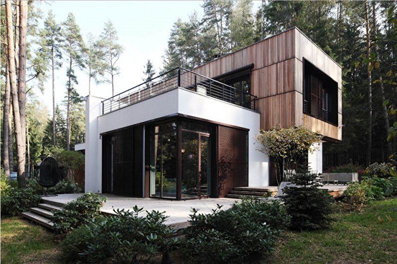 Современные проекты двухэтажных домов - Двухэтажный дом с плоской крышей