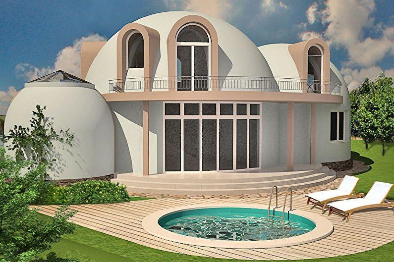 Современные проекты двухэтажных домов - Купольные двухэтажные дома
