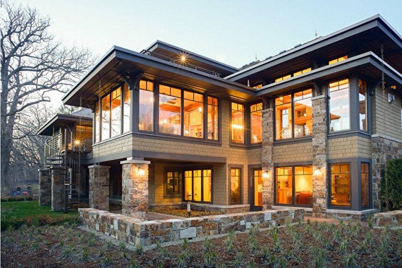 Современные проекты двухэтажных домов - Двухэтажный дом с панорамными окнами