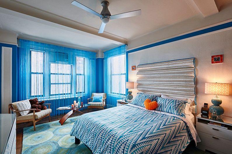 Нитяные шторы в интерьере спальни