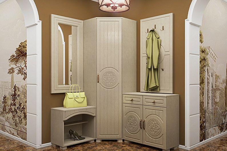 Угловой шкаф в прихожей в стиле прованс
