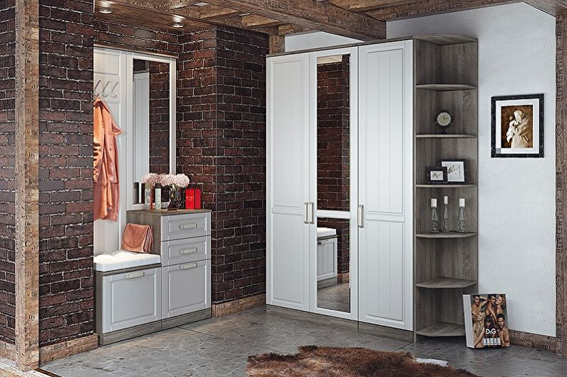 Угловой шкаф в прихожей в стиле лофт