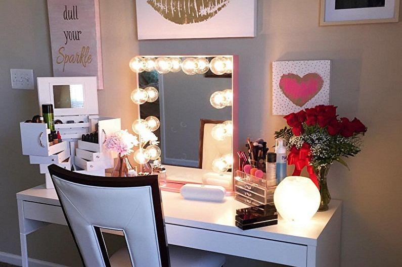 Виды гримерных зеркал с лампочками - Размер