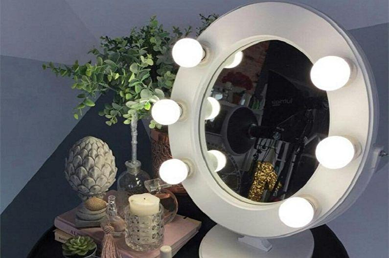 Виды гримерных зеркал с лампочками - Форма