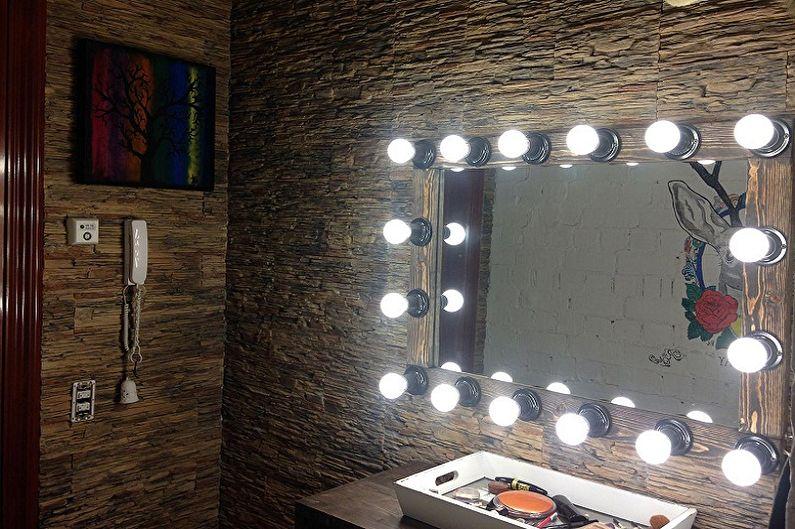 Виды гримерных зеркал с лампочками - Способ размещения