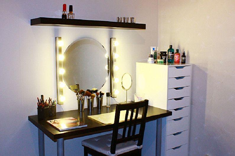 Виды гримерных зеркал с лампочками - Варианты размещения и виды лампочек