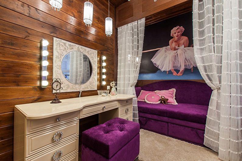 Гримерное зеркало с лампочками в интерьере