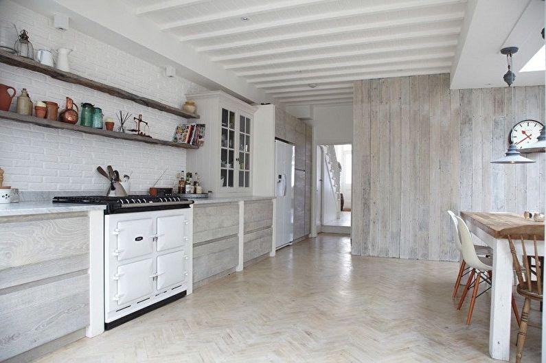 Дизайн кухни в скандинавском стиле - Отделка потолка