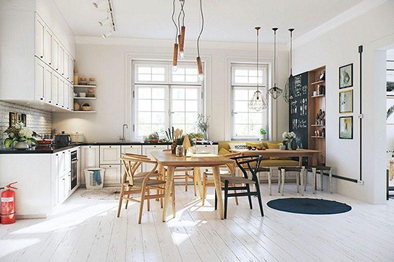 Дизайн кухни в скандинавском стиле - Освещение и декор