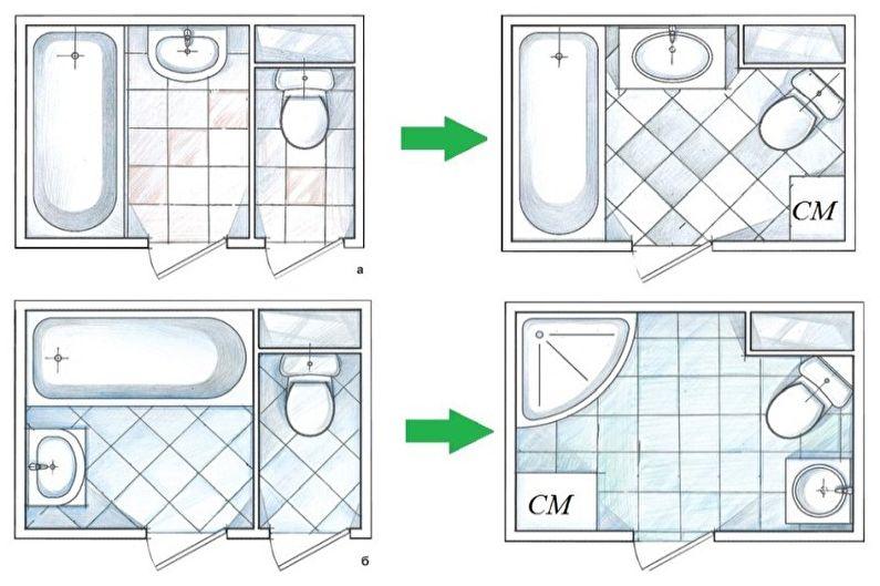 Перепланировка квартиры в хрущевке - Перепланировка санузла