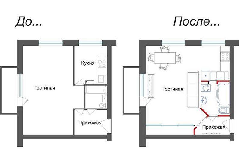 Перепланировка однокомнатной квартиры в хрущевке - Проект 1