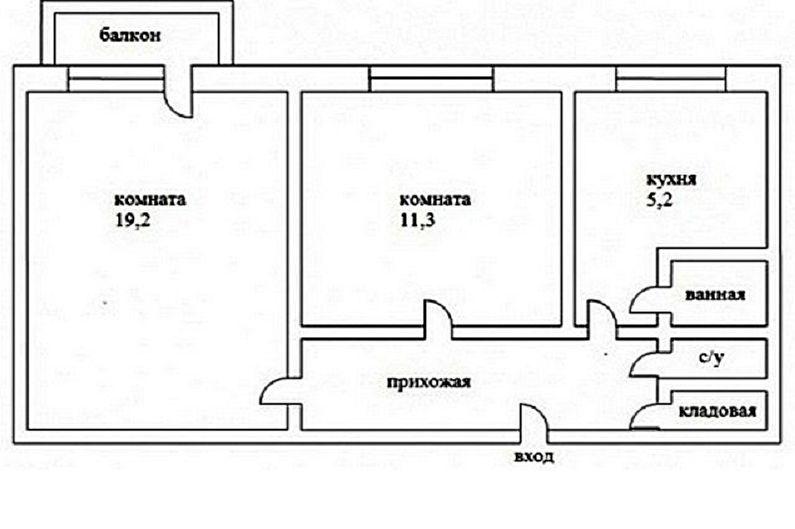 Перепланировка двухкомнатной квартиры в хрущевке - Проект 1