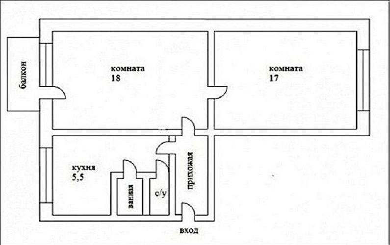 Перепланировка двухкомнатной квартиры в хрущевке - Проект 3