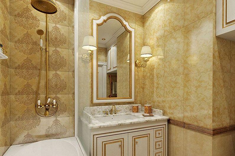 Дизайн ванной комнаты 2 кв.м. в классическом стиле