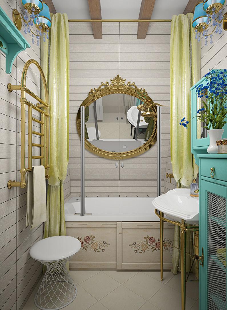 Дизайн ванной комнаты 2 кв.м. в стиле прованс