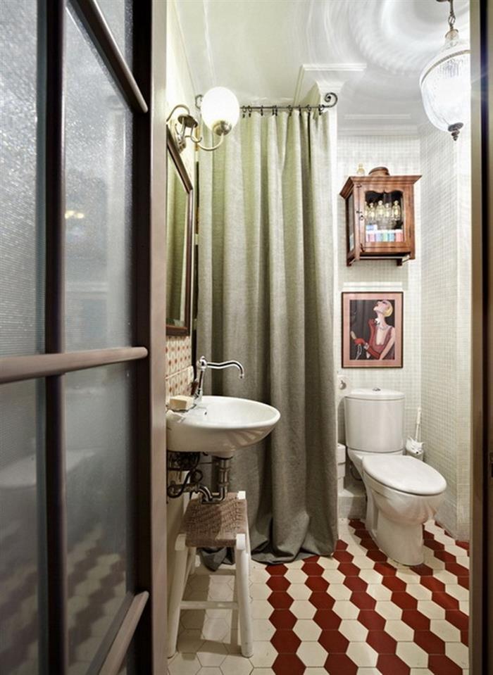 Дизайн ванной комнаты 2 кв.м. в стиле ретро