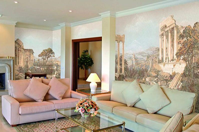 Фреска на стену в интерьере гостиной