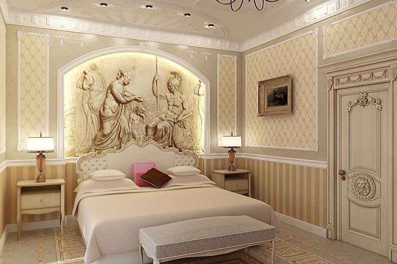 Фреска на стену в интерьере спальни