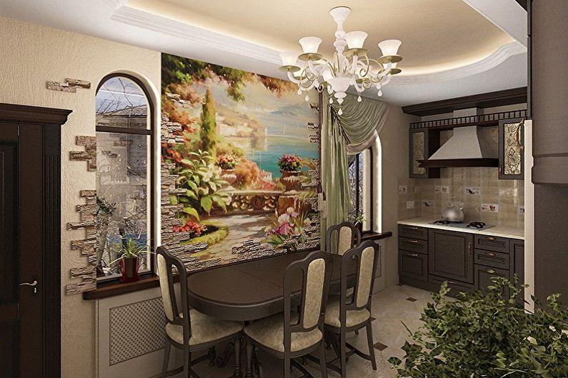 Фреска на стену в интерьере кухни