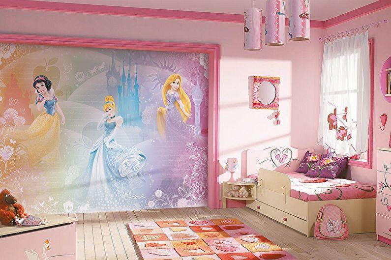 Фреска на стену в интерьере детской комнаты