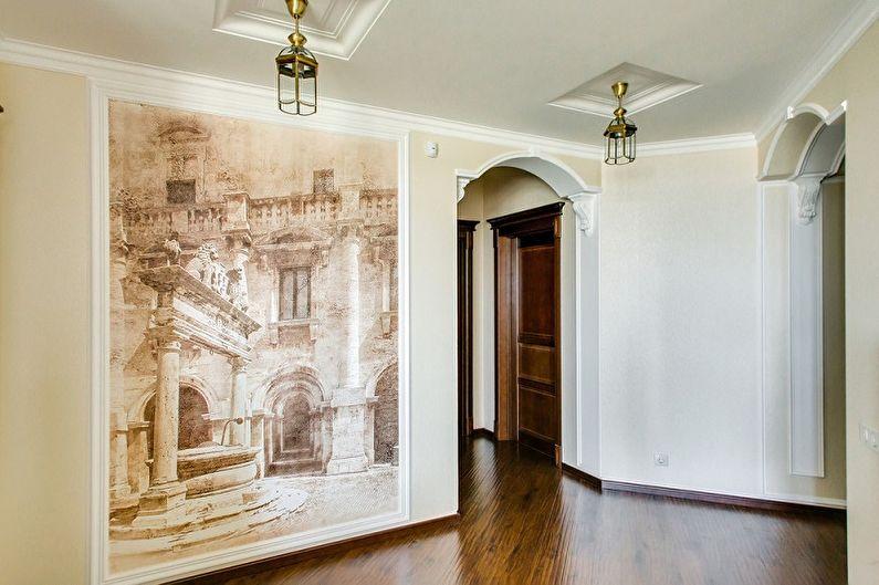 Фреска на стену в интерьере прихожей