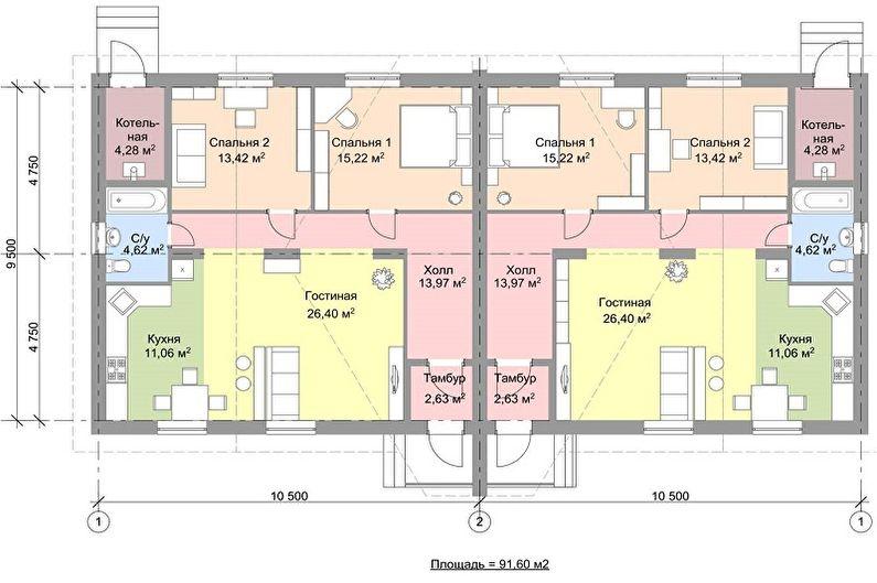 Современные проекты одноэтажных домов - Одноэтажный дом с двумя входами