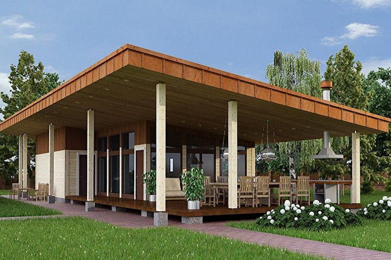 Современные проекты одноэтажных домов - Одноэтажный дом с летней кухней