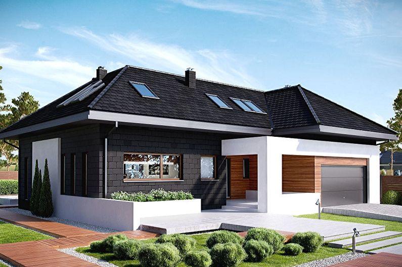 Современные проекты одноэтажных домов - Одноэтажный дом с мансардой