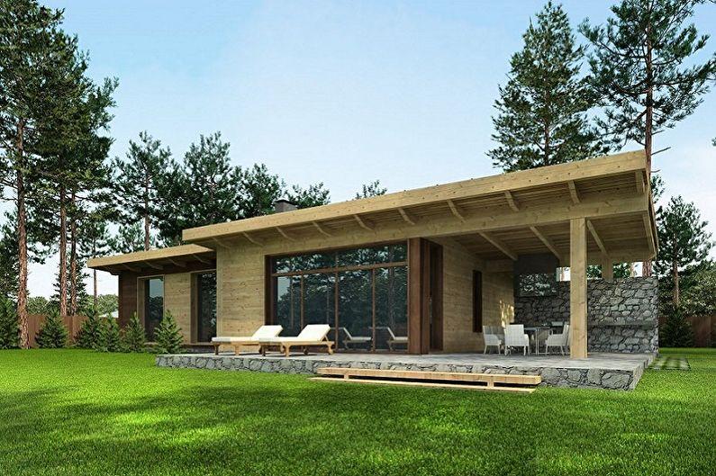 Современные проекты одноэтажных домов - Одноэтажный дом с панорамными окнами
