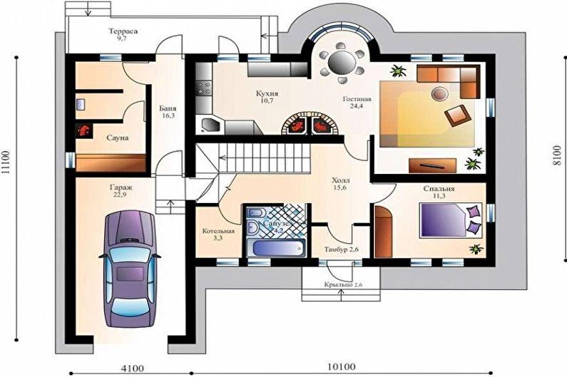 Современные проекты одноэтажных домов - Одноэтажный дом с гаражом