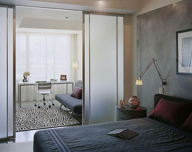 Раздвижные двери - зонирование комнаты для родителей и ребенка