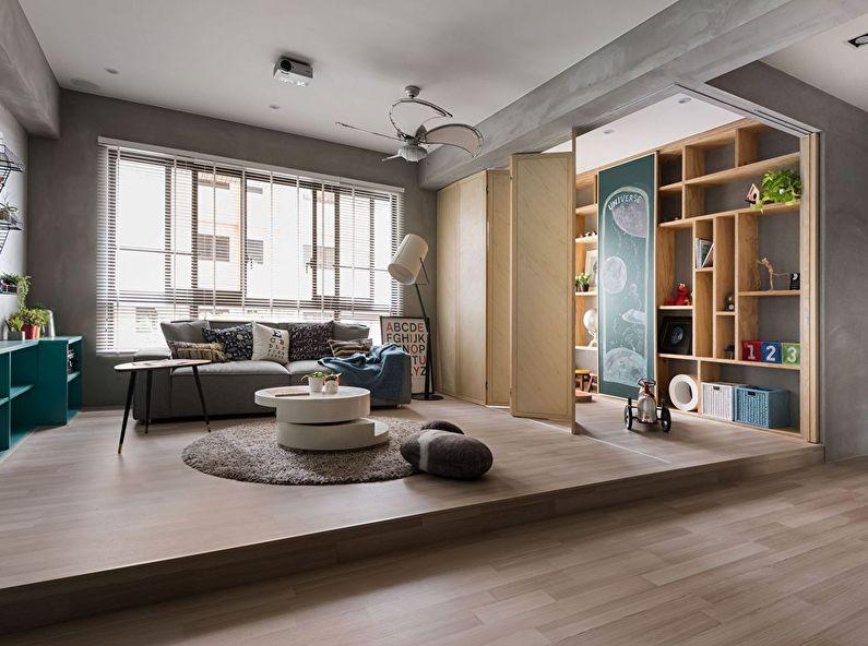 Зонирование гостиной и детской комнаты с помощью складной ширмы