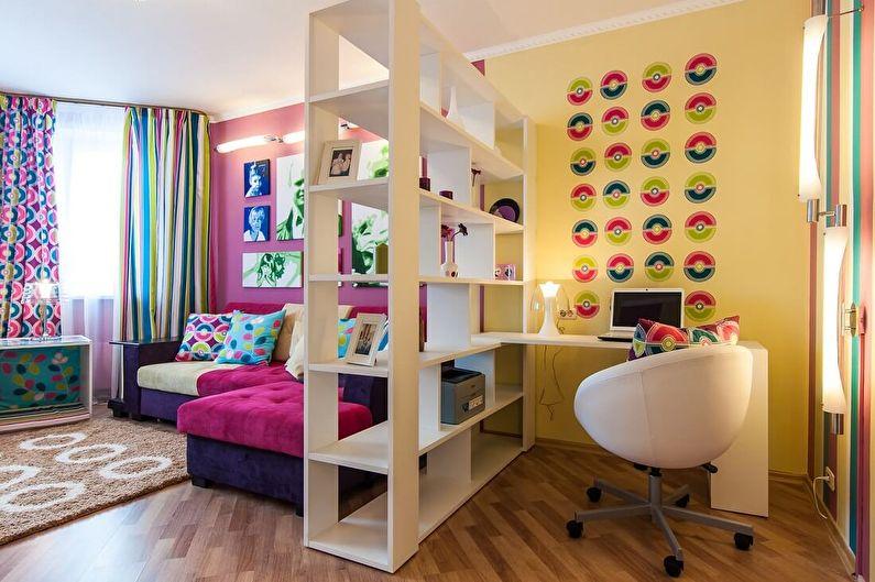Полки - зонирование комнаты для родителей и ребенка