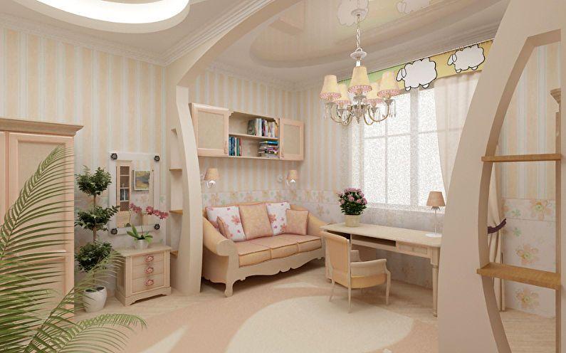 Перегородка из гипсокартона - зонирование комнаты для родителей и ребенка