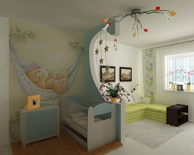 Перегородка из гипсокартона - зонирование гостиной и детской комнаты