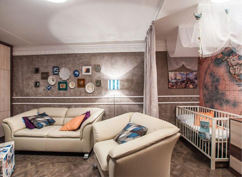 Шторы - зонирование гостиной и детской комнаты