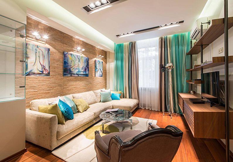 Дизайн потолка из гипсокартона в гостиной