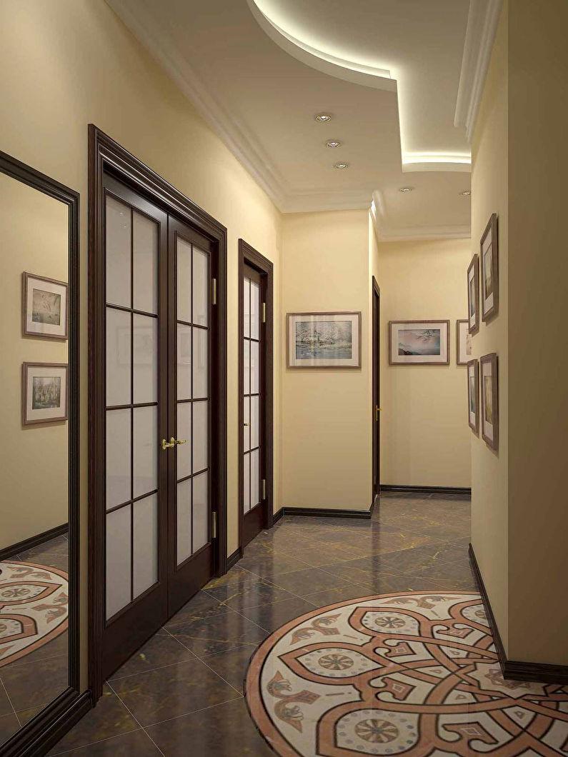 Дизайн потолка из гипсокартона в коридоре